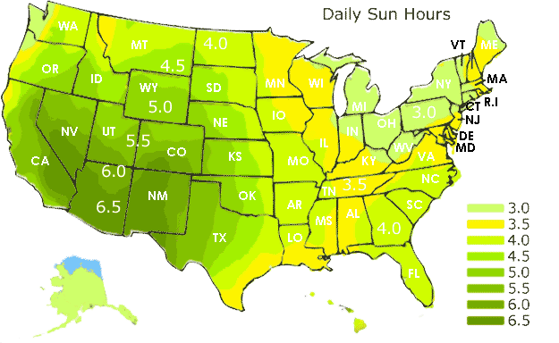 Solar Radiation Map USA